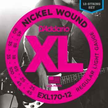 D´addario EXL170-12 Nickel Wound 12-String Bass cuerdas de bajo
